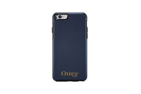 OTTERBOX SYMMETRY LEATHER EDITION FOR APPLE IPHONE 6 PLUS NAVY BLUE W/GOLD LOGO