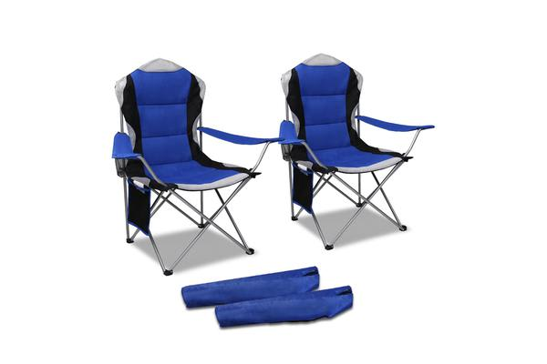 Set of 2 High Back Folding Camping Arm Chair (Blue)