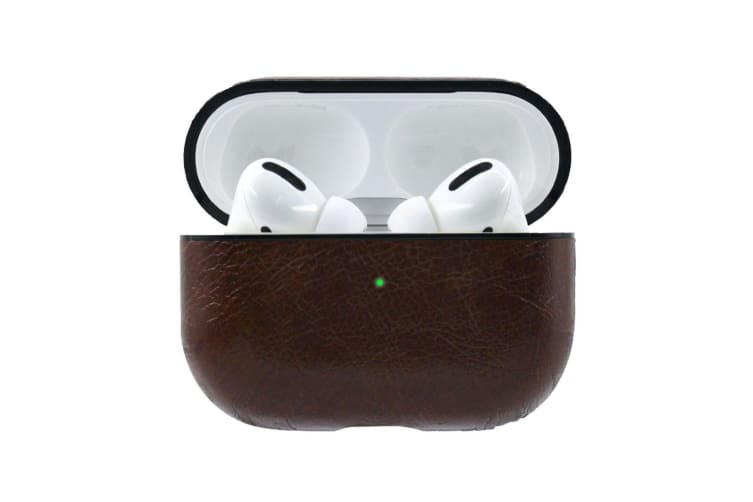 For AirPods Pro Case  Genuine Leather Wireless Earphone Protective Box  Dark Brown