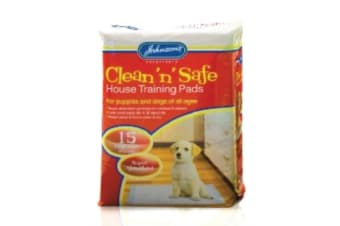Johnsons Clean N Safe Puppy House Training Pads (Red) (Pack of 15)