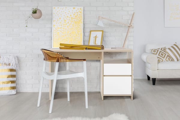 Ovela Desk with Drawers - Bergen Collection (White & Birch)