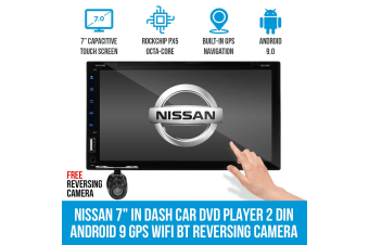 "Elinz Nissan 7"" In Dash Car DVD Player 2 DIN Android 9 GPS WiFi BT Reversing Camera T2"