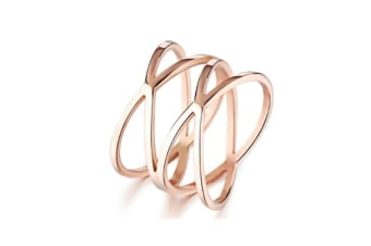"Rose Gold ""X"" Criss Cross Long 14mm Woman Party Rings Band 8"