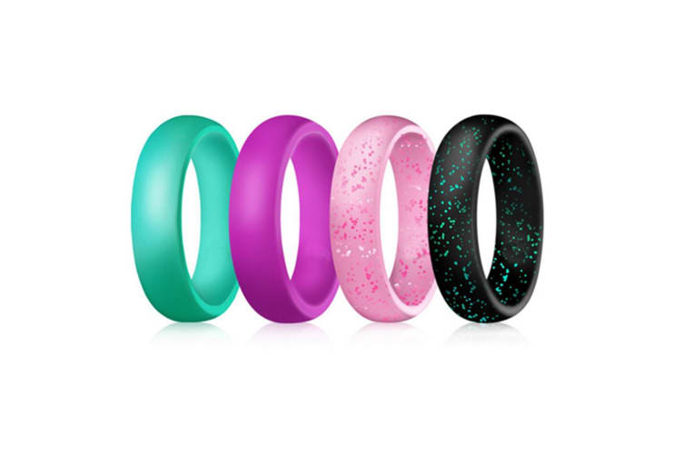 Silicone Wedding Ring.4 Pcs Women Silicone Wedding Ring Bands Active Athletes Comfortable Fit Non Toxic Antibacterial 4