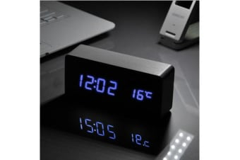 Blue Led Wooden 3 Alarm Clock + Temperature Display Usb/Battery Wood Black 6035