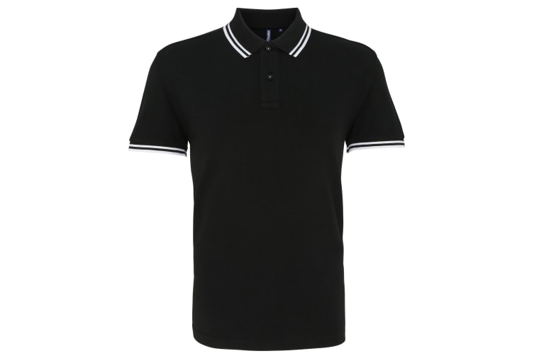 Asquith & Fox Mens Classic Fit Tipped Polo Shirt (Black/ White) (XL)