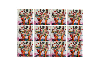 12pc Maxwell & Williams Smile Style Ceramic Tile Coaster Tabby 9cm Placemat