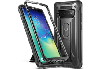 YOUMAKER HEAVY DUTY Shockproof KickStand Case Cover For Samsung Galaxy S10 Plus-Black