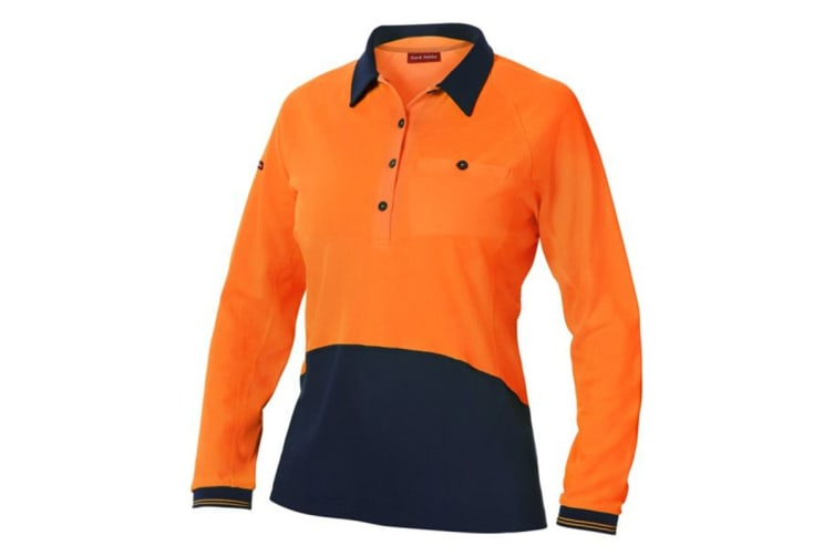 Hard Yakka Women's Koolgear Hi-Vis Long Sleeve Polo (Orange/Dark Navy, Size XS)