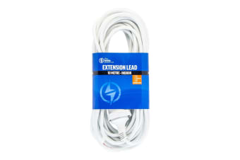 The Brute Power Co 10m Extension Lead/Cord Cable AU/NZ 24000W 240V Home Plug WHT