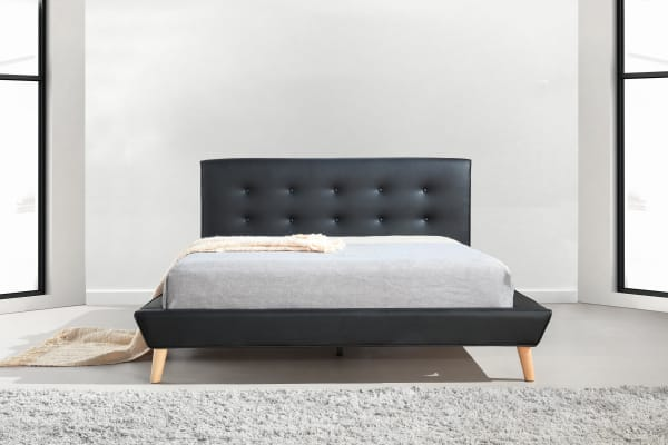 Queen PU Leather Deluxe Bed Frame Black