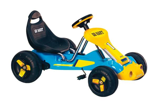 Kids Pedal Go Kart with Inflatable Tyres - Blue