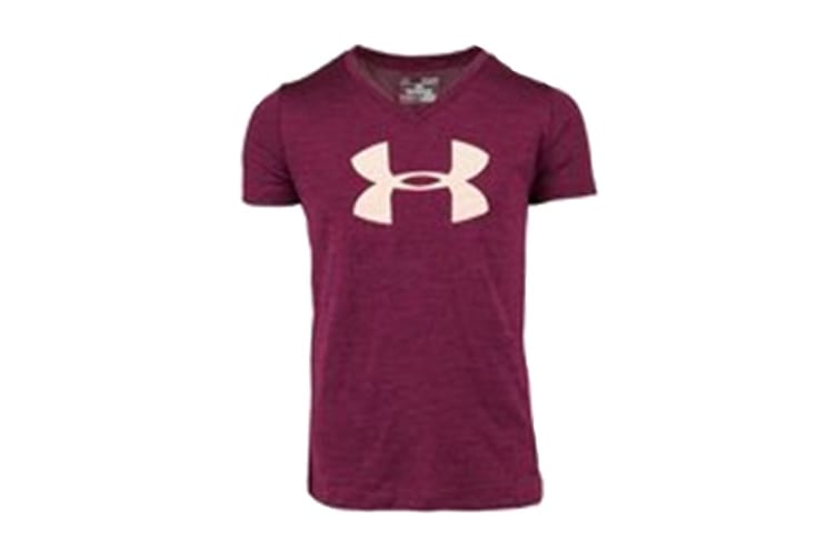 Under Armour Girls' Tech Big Logo V-Neck (Eggplant Heather/Pink, Size L)