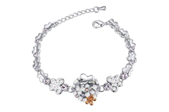 Butterfly Meadow Bracelet w/Swarovski Crystals-White Gold/Clear