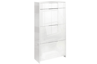 24 Pair High Gloss Wooden Shoe Cabinet (White)