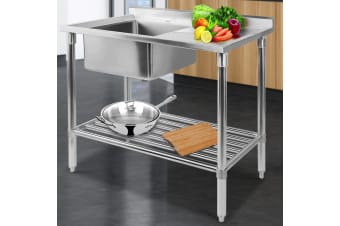 Stainless Steel Sink Bench Kitchen Work Benches Single Bowl 100x60