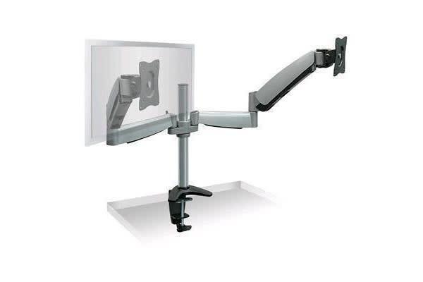 "Brateck Lumi LDT04-C024 13-27"" Counter Balance Dual LCD Desk Mount. Max arm reach 500mm. Tilt"