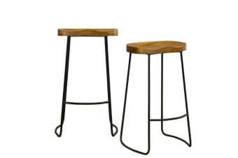 2x Levede Industrial Bar Stools Kitchen Stool Wooden Barstools Dining Chair