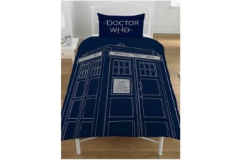 Doctor Who Classic Reversible Single Duvet Set (Blue/White) (One Size)