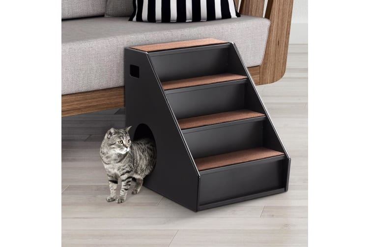 Wooden 4 Steps Dog Cat Stairs Pet Ramp Folding Doggy Ladder W/ Hideaway Space