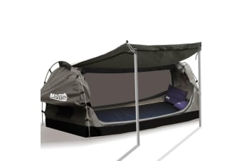 Mountview Camping Swags Canvas Free Standing Swag Dome Tents Kings Double Khaki