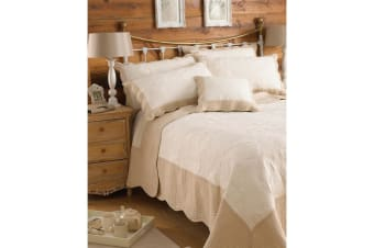 Riva Home Fayence Bedspread (Ivory/Taupe) (275x275cm)