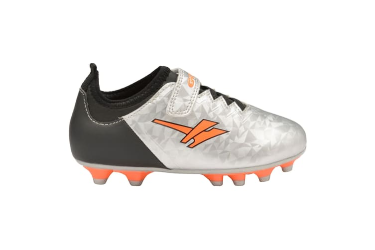 Gola Boys Alpha MLD Touch Fastening Football Training Shoe (Silver/Black/Orange) (10 Child UK)