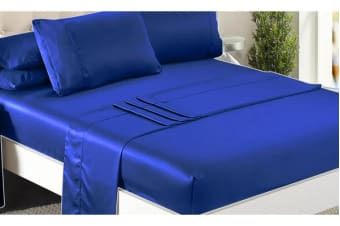 Luxury Super Soft Silky Satin Fitted/ Flat Sheet Pillowcases Bed Set VY BLUE Queen