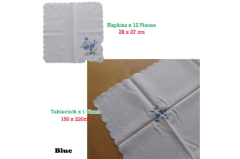 Embroidered White Table Cloth + 12 Matching Napkins Blue