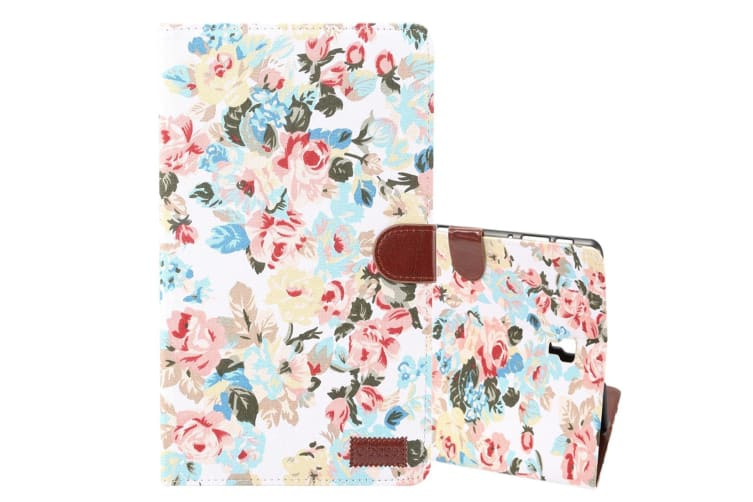 For Samsung Galaxy Tab S4 10.5i Case White Flower Pattern PU Leather Folio Cover