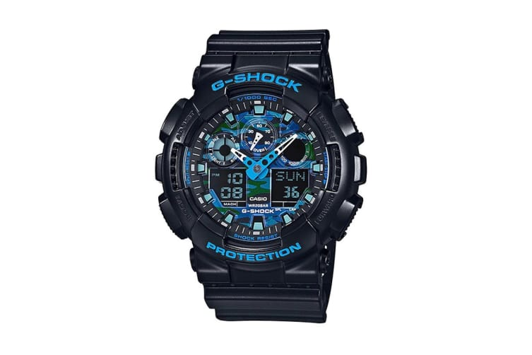 Casio G-Shock Analog Digital Watch with Shock/Water Resistance, Anti-Magnetism & Resin Band - Black/Blue (GA100CB-1A)
