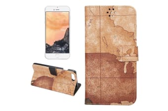 For iPhone 8 PLUS 7 PLUS Wallet Case Modern Map Durable Leather Cover Brown