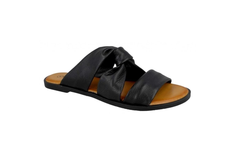 Leather Collection Womens/Ladies Leather Strappy Mules (Black) (5 UK)