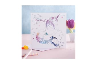 Deckled Edge Prancing Myth Greetings Card (Happy Birthday - Merhorse (White/Rainbow))