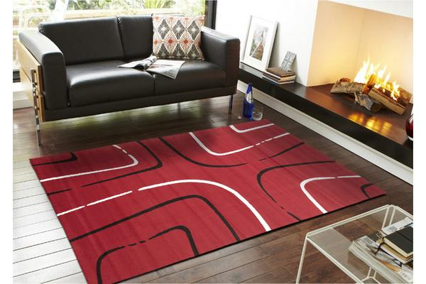 Curves Rug Red Black Off White 230x160cm