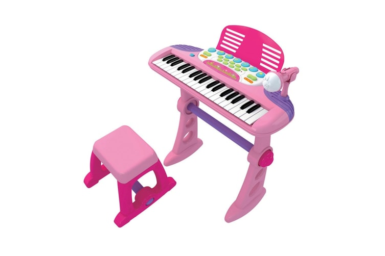 Electronic Kids Keyboard With Stand And Stool - Pink