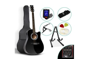 ALPHA 41 Inch Acoustic Wooden Guitar Black