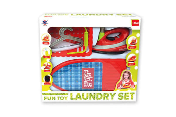 Kids Ironing and Laundry Pretend Play Set