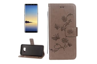 For Samsung Galaxy Note 8 Wallet Case Elegant Lotus Butterfly Durable Cover Grey