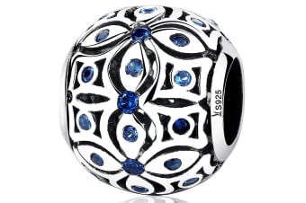 .925 Floral with Sapphire Blue CZ Charm