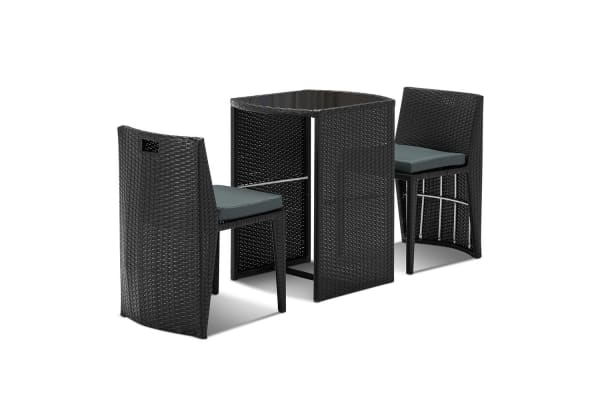 3 Piece Wicker Outdoor Table and Chair Set