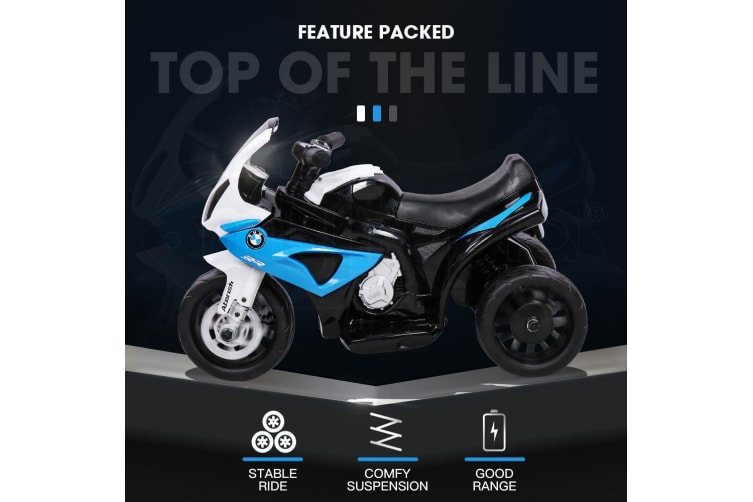 ROVO KIDS Ride On Motorcycle Licensed BMW S1000RR Electric Motorbike Police Blue