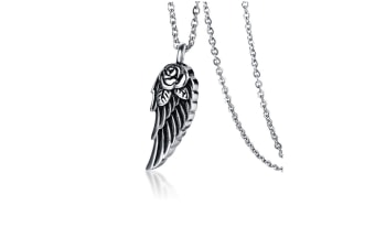Stainless Steel Rose Angel Wing Pendant Necklace Silver Pendant+Chain