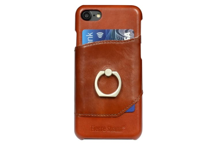 For iPhone 8 7 Case Fierre Shann Elegant Ring Holder Genuine Leather Cover Brown