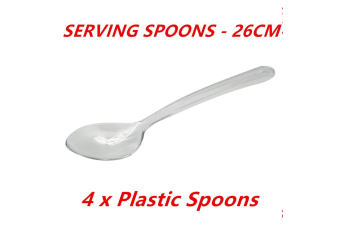 4 x 26cm Disposable Large Plastic Serving Catering Spoons Dessert Wedding Party