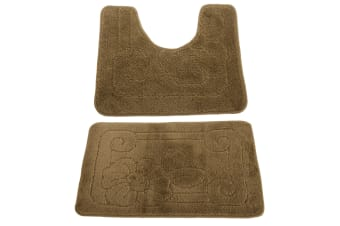 2 Piece Floral Patterned Bath Mat And Pedestal Mat Set (Khaki Green) (One Size)