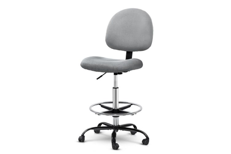 Artiss Office Chair Veer Drafting Stool Fabric Chairs Footrest Standing Desk GY