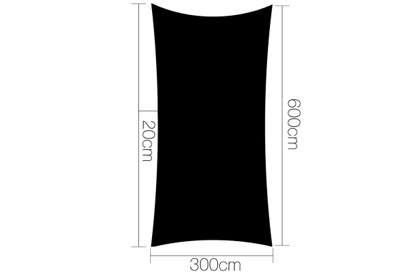 Heavy Duty Rectangle Shade Sail Canopy 3x6m (Black)