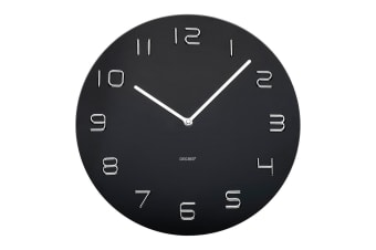 Degree 35cm Glass Round Quartz Wall Clock Chrome Home Decor Arabic Numbers Black