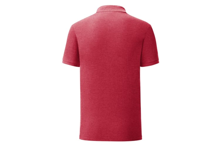 Fruit Of The Loom Mens Iconic Pique Polo Shirt (Heather Red) (XL)